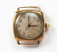 A 1930'S 9 CARAT GOLD ROLEX OYSTER WATCH CO WRISTWATCH the unmarked dial with arabic numerals,
