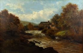 19TH CENTURY ENGLISH SCHOOL a river mill, oil on canvas, 75cm x 115cm, mounted in a gilded gesso