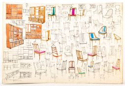 TIM WIDDOWSON (20TH CENTURY SCHOOL) Five card sheets with pen, ink and watercolour wash designs