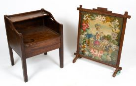 A 19TH CENTURY MAHOGANY COMMODE with side handles, a lifting lid and square legs, 56cm wide x 51cm