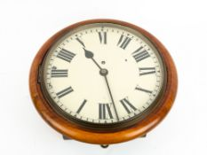 AN EDWARDIAN MAHOGANY DIAL CLOCK with fusee movement and spun bezel, 37cm diameter overall