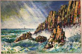 TIM WIDDOWSON (20TH CENTURY SCHOOL) Cliffs & Sea, Landsend, acrylic, signed lower right, 61cm x 92cm