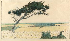 AMEDEE JOYAU (1871-1913) Le Grande Devise, coloured woodcut print, signed and numbered 13, 21cm x