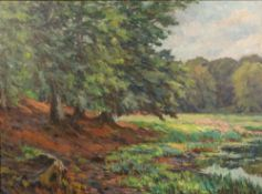 EARLY TO MID 20TH CENTURY SCANDINAVIAN WOODEN LANDSCAPE oil on canvas, indistinctly signed lower