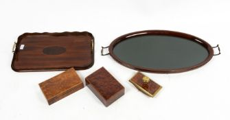 TWO BURR MAPLE BOXES, an ink blotter together with two Edwardian trays, the oval tray 72cm wide