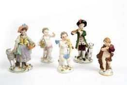 THREE MEISSEN PORCELAIN CHERUBS the largest 14cm in height together with a pair of Sitzendorf