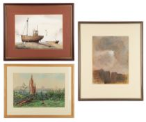 HENRI FARGE (1884-1970) Paris skyline, watercolour, 22cm x 29cm, framed and glazed, overall 47.5cm x