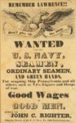 AN OLD U.S. NAVY RECRUITMENT ADVERTISING POSTER 'Remember Lawrence!!! Dont Give Up the Ship', 41cm x