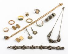 JEWELLERY to include six rings including a yellow metal ring inset with rubies, two semi precious