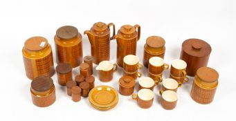 A COLLECTION OF HORNSEY SAFFRON PATTERN TABLE WARES to include storage jars, coffee cups and jugs