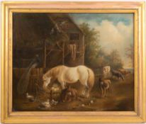 A LATE 19TH CENTURY FARMYARD SCENE pastel on canvas, 35.5cm x 44cm, framed and glazed, overall 44.