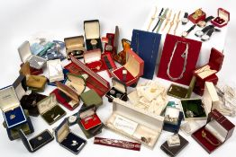 A COLLECTION OF ASSORTED SILVER PLATED JEWELLERY, simulated pearls, wristwatches and costume