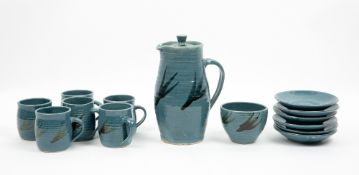 KRISTEN ROTH, ST IVES POTTERY blue glazed stoneware coffee set to include pot and cover, six cups
