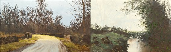 PAMELA DERRY (1932) January Morning, oil on board, 28.5cm x 43cm, framed, overall 46cm x 61cm;