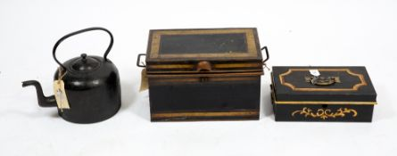 A W LESLEY & CO CALCUTTA PAINTED CASH BOX 36cm wide x 22cm deep x 12cm high; a further antique