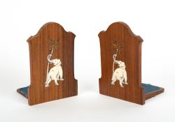 A PAIR OF 1920'S ROSEWOOD AND IVORY INLAID BOOKENDS depicting elephants, 10.2cm wide x 15cm high
