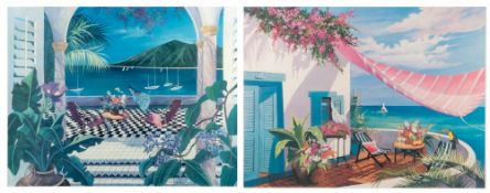 SHARIE HATCHETT BOHLMANN Tropical terrace, print, signed in pencil and numbered 312/375, 58cm x
