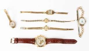 FIVE EARLY 20TH CENTURY AND LATER LADIES WRIST WATCHES to include a Smiths fifteen jewel with a 9