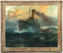LARGE EARLY 20TH CENTURY MERCHANT'S SHIP AT SEA oil on canvas, 78.5cm x 99cm, mounted in a gilded