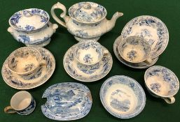A SMALL GROUP OF 19TH CENTURY BLUE AND WHITE DOLL'S HOUSE TEA AND DINNER WARES