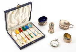 A SET OF SIX DANISH STERLING SILVER GILT AND ENAMELLED COFFEE SPOONS each 9.5cm in length together