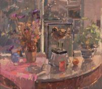 JOHN MARTIN (1957) Morning light with golden plover, oil on board, 22.5cm x 25cm, framed, overall