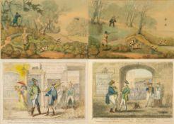 GEORGE CRUIKSHANK (1792-1878) 'Anglo-Gallic Salutations' and 'Anglo-Parisian Salutations', hand