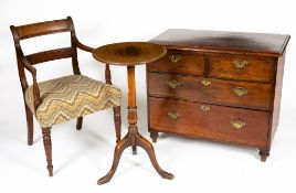 A 19TH CENTURY MAHOGANY CHEST OF TWO SHORT AND TWO LONG DRAWERS with brass swan neck handles and