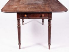 A 19TH CENTURY MAHOGANY DROP LEAF TABLE in the Gillows style with frieze drawer to one end and