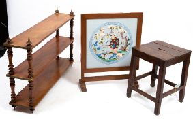 A VICTORIAN MAHOGANY TWO TIER WALL SHELF with turned supports, 104cm wide x 23.5cm deep x 70cm high;