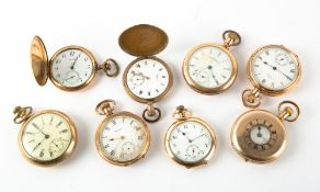 EIGHT GOLD PLATED WALTHAM POCKET WATCHES in mixed condition Condition: all untested