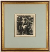 HARRY BUSH (1883-1957) Seated figures, pen and ink drawing, 15.5cm x 13.5cm, framed and glazed,