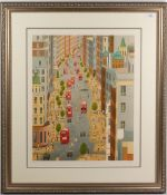 FRANCH LEDAN London street scene with buses, print, signed and numbered 6/35, 61cm x 50cm, framed