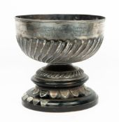 AN EDWARDIAN SILVER ROSEBOWL with embossed reeded decoration, marks for London 1901, inscribed '