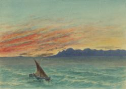 SIR EDMUND DU CANE (1830-1903) 'The Esterels - Sunset', inscribed to label verso, watercolour,