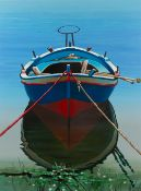 IGOR MEDVEDEV (1931-2015) Moored boat, in blue and red, print, signed and numbered 98/100, 75.5cm