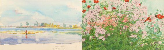 LINDA BENTON 'Pink Philox', watercolour, 27cm x 43cm, framed and glazed, overall 45cm x 63cm; Nong