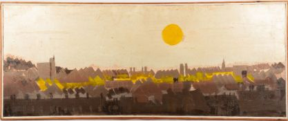 GRANVILLE (LATE 20TH CENTURY SCHOOL) Sunset over a roof scape, oil on canvas, signed lower right,