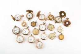 A COLLECTION OF TWENTY ANTIQUE POCKET WATCHES to include gold plated examples, an Omega, a W.A Perry