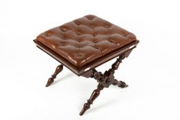 A 19TH CENTURY MAHOGANY X FRAMED STOOL with later brown leather button upholstered inset top, 47cm