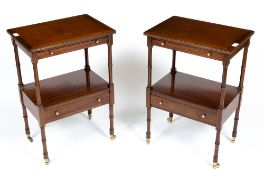 A PAIR OF REPRODUCTION GEORGIAN STYLE MAHOGANY BEDSIDE TABLES each with a slide and a single drawer,