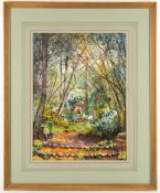 WILLIAM JOHN CAPARNE (1855-1940) An Eastern garden scene with bamboo, watercolour, 24cm x 32.5cm,