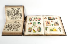 A VICTORIAN SCRAP BOOK to include postcards and a scrap book of cartoon prints to include Tootsie
