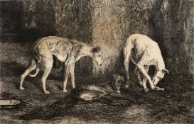 George Barrie (19th Century English School) 'Three dogs' engraving, unsigned, with Imperial Art
