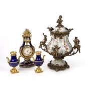 Pottery vase and cover with gilt metal mounts, French style, 54cm high and a French style