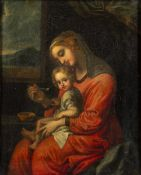 Circle of Carlo Maratti (Italian, 1625-1713) Virgin seated and feeding the Infant Christ, set in