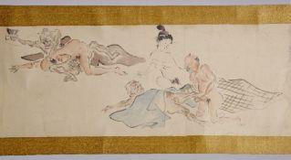 Japanese Shunga Makimono 19th Century