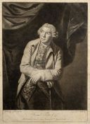 After Sir Joshua Reynolds Mezzotint of Samuel Foote, engraved by J Blackmore, published 1771, 47cm x