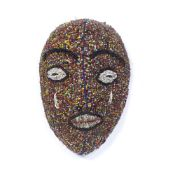 Beaded mask Cameroon or Nigeria, the full mask on a wooden base, 27cm x 18cm