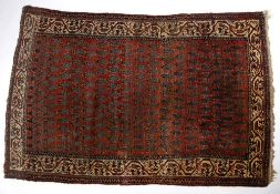 Hamadan rug of red ground, with boteh designs and foliate border, 140cm x 203cm